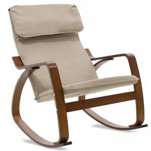 Πολυθρόνα κουνιστή σε μόκα ύφασμα και καρυδί ξύλο