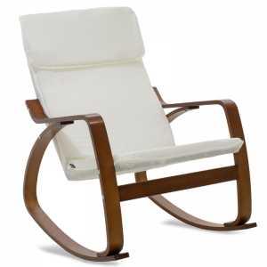 Πολυθρόνα κουνιστή σε λευκό ύφασμα και καρυδί ξύλο