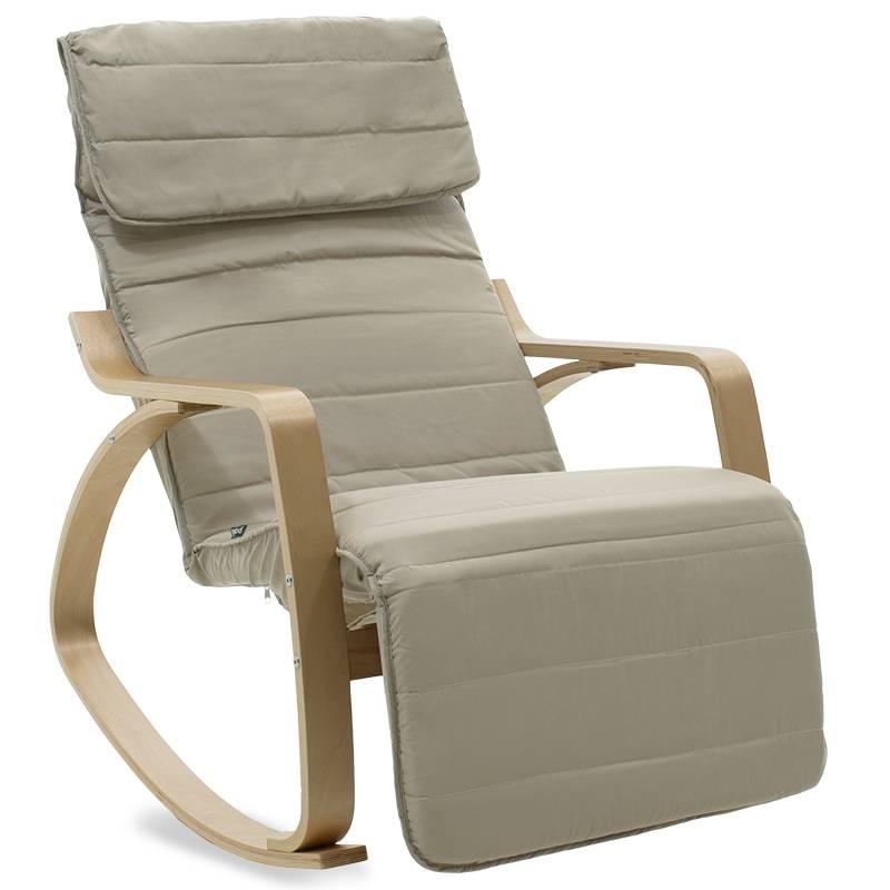Πολυθρόνα κουνιστή με υποπόδιο σε ανοιχτό λαδί ύφασμα και φυσικό ξύλο