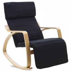 Πολυθρόνα κουνιστή με υποπόδιο σε μαύρο ύφασμα και φυσικό ξύλο