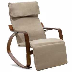 Πολυθρόνα κουνιστή με υποπόδιο σε μόκα ύφασμα και καρυδί ξύλο