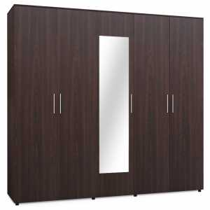Ντουλάπα ρούχων πεντάφυλλη με καθρέπτη χρώμα wenge 220x52x200