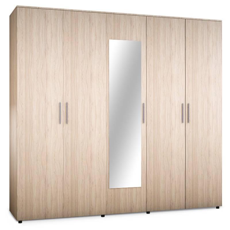 Ντουλάπα ρούχων πεντάφυλλη με καθρέφτη σε χρώμα astra 220x52x200