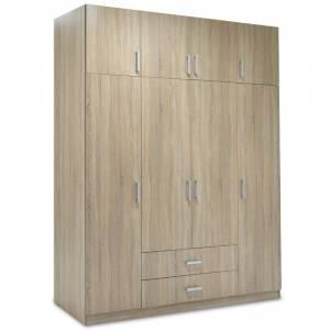 Ντουλάπα ρούχων τετράφυλλη με πατάρι χρώμα sonoma 200x58x230