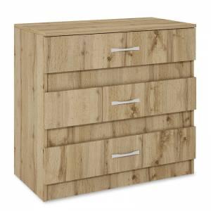 Συρταριέρα με τρία συρτάρια χρώμα sonoma 80x43,5x76εκ