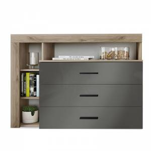 Συρταριέρα με τρία συρτάρια χρώμα φυσικό-ανθρακί gloss 120x43x89εκ