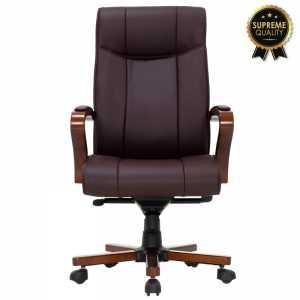 Καρέκλα γραφείου διευθυντή SUPREME QUALITY ξύλο-pu σκούρο καφέ