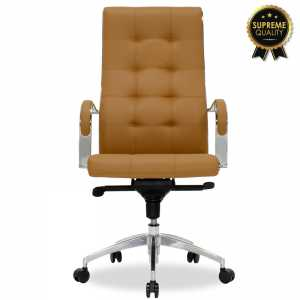 Καρέκλα γραφείου διευθυντή με καφέ-ταμπά τεχνόδερμα
