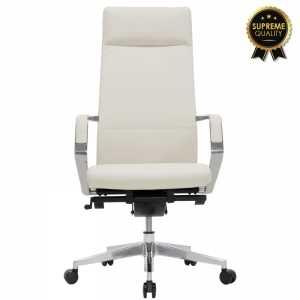Καρέκλα γραφείου διευθυντή SUPREME QUALITY με white ivory τεχνόδερμα