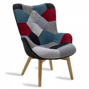 Πολυθρόνα υφασμάτινη χρώμα patchwork