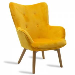Πολυθρόνα υφασμάτινη βελούδο χρώμα κίτρινο