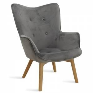 Πολυθρόνα υφασμάτινη βελούδο χρώμα ασημί-γκρι