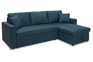 Γωνιακός καναπές κρεβάτι αναστρέψιμος με αποθηκευτικό χώρο μπλε ύφασμα