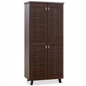 Παπουτσοθήκη-ντουλάπα 24 ζεύγων χρώμα καρυδί 78x40x170,5εκ
