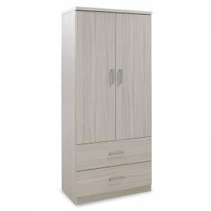 Ντουλάπα ρούχων δίφυλλη με 2 συρτάρια χρώμα λευκό - γκρι 80x45x180εκ