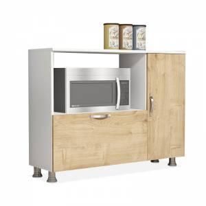 Μπουφές - ντουλάπι κουζίνας χρώμα λευκό - φυσικό 118x35x90εκ