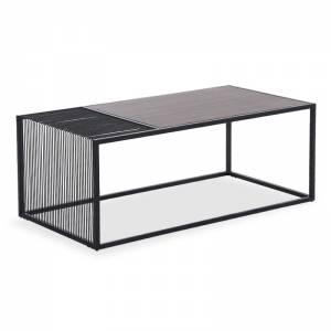 Τραπέζι σαλονιού MDF μεταλλικό χρώμα μαύρο-φυσικό 120x60x45εκ