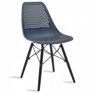 Καρέκλα  από PP χρώμα σκούρο μπλε με ξύλινα πόδια εσωτερικού-εξωτερικού χώρου