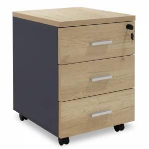 Συρταριέρα τροχήλατη 3ων συρταρίων φυσικό-ανθρακί χρώμα 40x47x55εκ