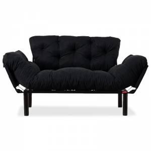 Καναπές κρεβάτι 2θέσιος με ύφασμα χρώμα μαύρο 155x73x85cm