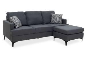 Γωνιακός καναπές με σκαμπώ υφασμάτινος χρώμα ανθρακί με μαξιλάρια 185x140x70εκ