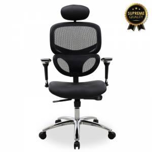 Καρέκλα γραφείου διευθυντή μαύρο pu-mesh