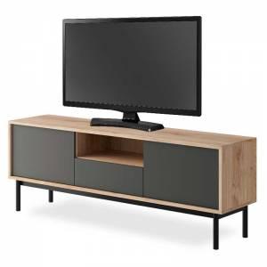 Έπιπλο τηλεόρασης χρώμα φυσικό - μαύρο 154x39x57εκ