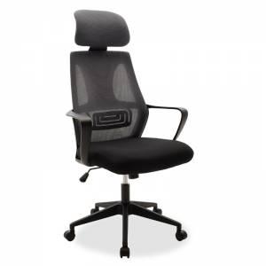 Καρέκλα γραφείου διευθυντή με ύφασμα mesh χρώμα μαύρο-γκρι