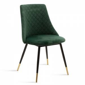 Καρέκλα μεταλλική μαύρη με ύφασμα βελουτέ πράσινο