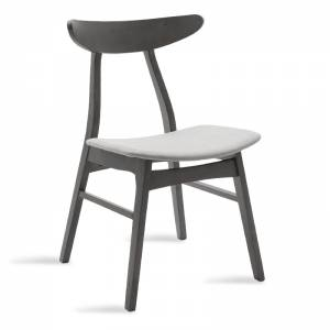 Καρέκλα μασίφ ξύλο rubber wood χρώμα rustic grey με γκρι ύφασμα