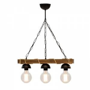 Φωτιστικό οροφής τρίφωτο χρώμα καρυδί-μαύρο 50x8,5x59,5εκ