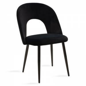 Καρέκλα μεταλλική μαύρη βελουτέ μαύρο