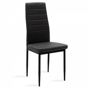 Καρέκλα μεταλλική μαύρη με pu μαύρο