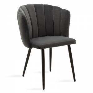 Καρέκλα μεταλλική μαύρη με βελούδο ανθρακί