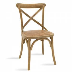 Καρέκλα ξύλινη χρώμα sonoma antique-έδρα καφέ rattan 45x55x87εκ