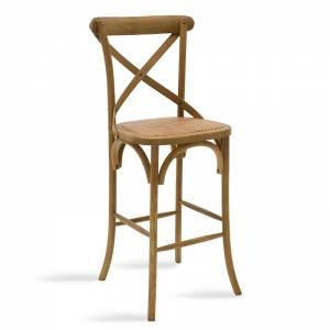 Σκαμπώ μπαρ ξύλινο χρώμα ανοικτό καρυδί-έδρα καφέ rattan 45x52x116εκ