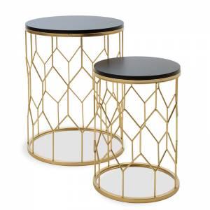 Βοηθητικά τραπέζια σαλονιού σετ 2 τεμ χρυσό-μαύρο 39x39x50εκ