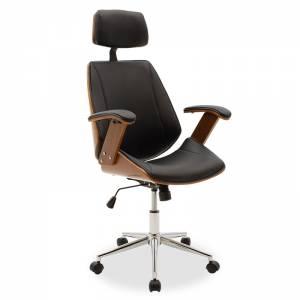 Καρέκλα γραφείου διευθυντή μαύρο pu - ξύλο καρυδί