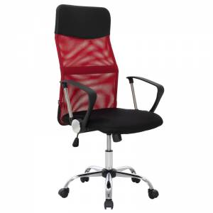 Καρέκλα γραφείου διευθυντή με ύφασμα mesh χρώμα μαύρο-κόκκινο