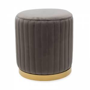 Σκαμπό σαλονιού βελούδο ανθρακί-χρυσό Φ39x42εκ