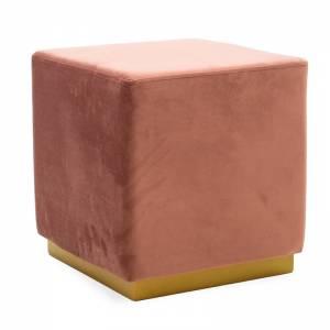 Σκαμπό σαλονιού βελούδο σάπιο μήλο-χρυσό 39x39x41εκ