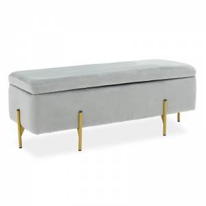 Σκαμπό-μπαούλο βελούδο γκρι-χρυσό 108x38x40εκ