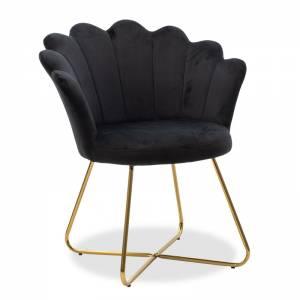 Πολυθρόνα με βελούδο χρώμα μαύρο 73x62x87εκ