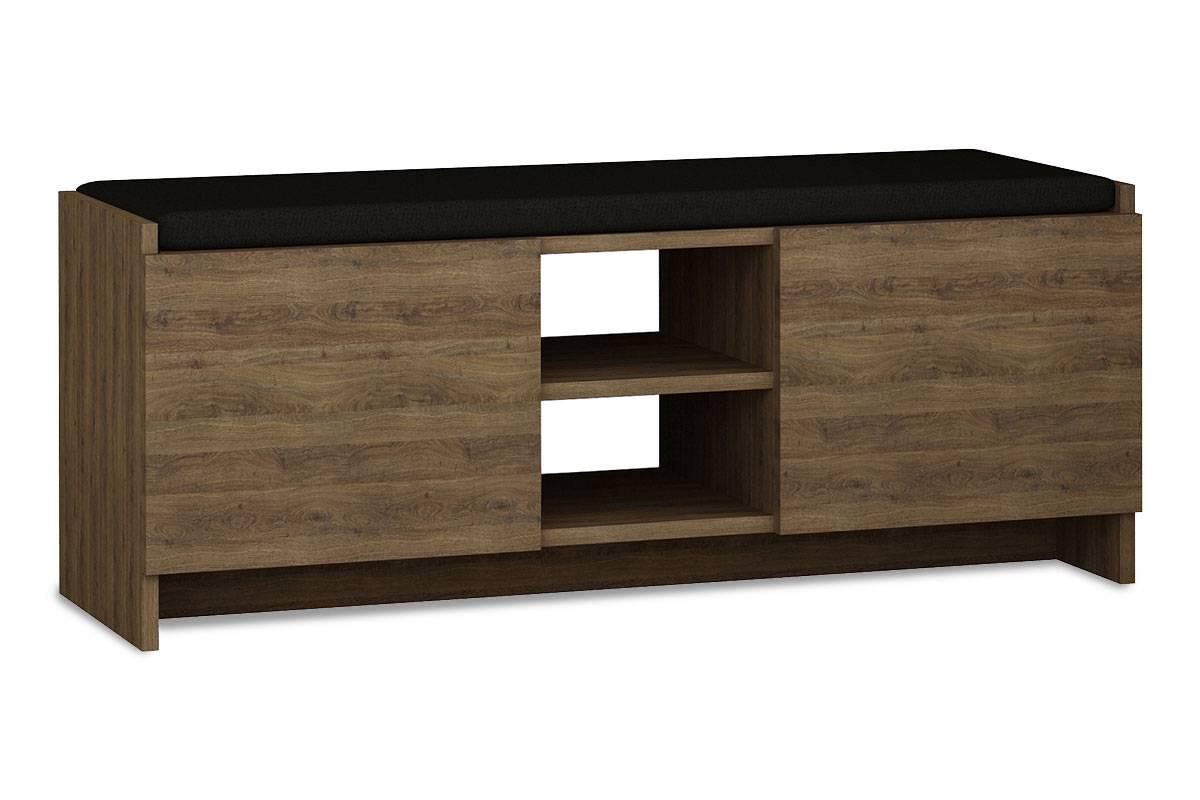 Έπιπλο εισόδου σκαμπώ-παπουτσοθήκη 10 ζεύγων σκούρο-φυσικό 110x37x43εκ