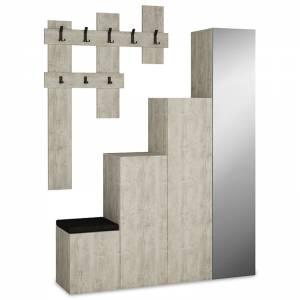 Έπιπλο εισόδου-παπουτσοθήκη 10 ζεύγων κρεμάστρα antique λευκό 150x37x180