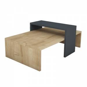 Τραπέζι σαλονιού χρώμα φυσικό-ανθρακί 80x50x32εκ