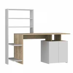 Γραφείο με ραφιέρα χρώμα λευκό-sonoma 146x60x129εκ