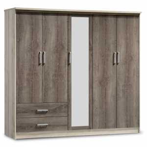 Ντουλάπα ρούχων πεντάφυλλη χρώμα castillo-toro 198x57x183εκ