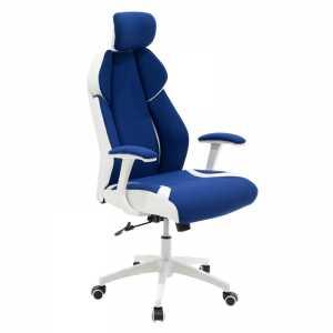 Καρέκλα γραφείου διευθυντή μπλε υφάσμα Mesh-πλάτη pu λευκό
