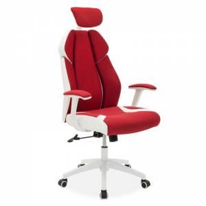 Καρέκλα γραφείου διευθυντή κόκκινο υφάσμα Mesh-πλάτη pu λευκό